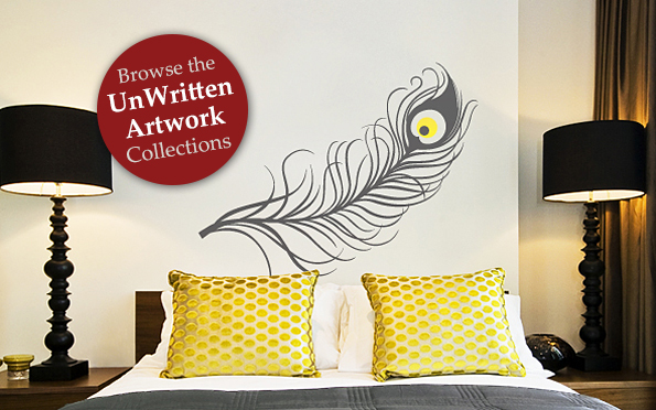 Wall Decal of a Peacock Feather