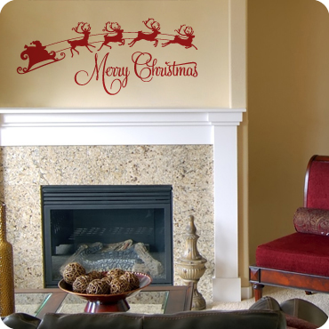 merry christmas with sleigh - Christmas Wall Decal