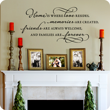 Home is where love resides wall quote wall decal easy for Living room quote stickers