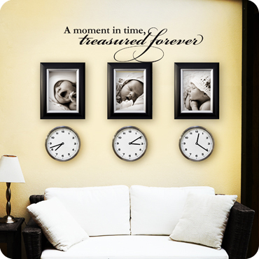 A moment in time treasured forever wall quote decal for Living room wall quote ideas