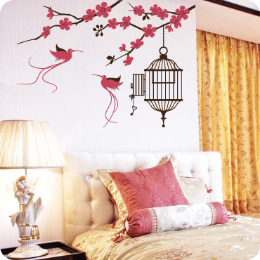 Blossom Branch with Exotic Birds & Cage